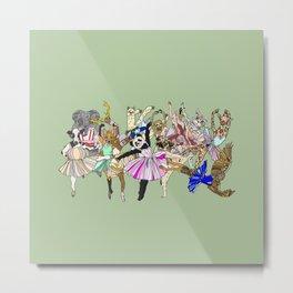 Animal Ballet Hipsters - Green Metal Print