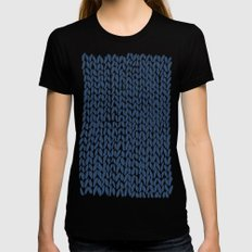 Hand Knit Navy Womens Fitted Tee X-LARGE Black