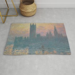 The Houses of Parliament  Sunset by Claude Monet Rug