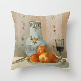 Camille Pissarro - Still Life with Apples and Pitcher (1872) Throw Pillow