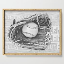 Softball (black and white) Serving Tray
