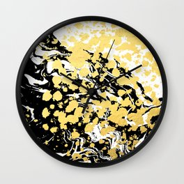 Sukie - abstract gold black and white foil glitter shiny sparkle hipster painting free spirit cosmic Wall Clock