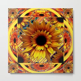 AWESOME GOLDEN SUNFLOWERS  PATTERN ART Metal Print
