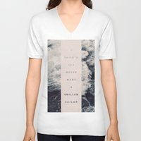 photograph V-neck T-shirts featuring A Smooth Sea Never Made A Skilled Sailor by Oliver Shilling