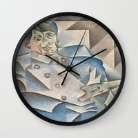 pablo picasso Wall Clocks featuring Juan Gris Portrait of Pablo Picasso by Artlala for MSF Doctors Without Borders