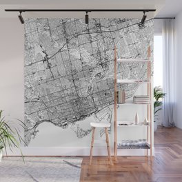 Toronto White Map Wall Mural