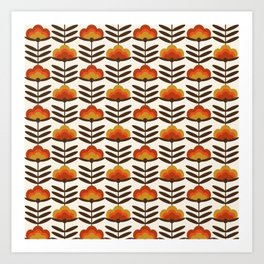 Boogie - retro florals minimal trendy 70s style throwback flower pattern Art Print