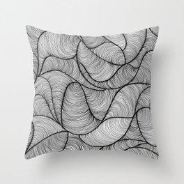 Black Swirl Lines Throw Pillow