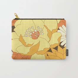 Yellow, Orange and Brown Vintage Floral Pattern Carry-All Pouch