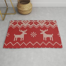 Christmas knitting with deer and snowflakes.illustration pattern Rug