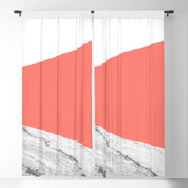 Marble Living Coral Geometry Blackout Curtain
