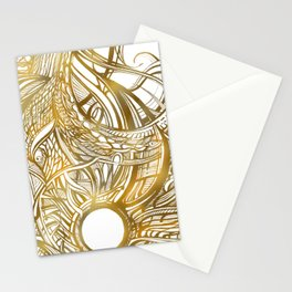 GOLDEN FLORAL PATTERN - BRONZE OR GOLD Stationery Cards