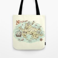 neverland Tote Bags featuring Neverland Map by Ryan O'Rourke
