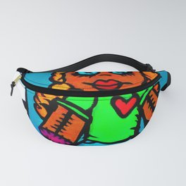 Heart Voodoo Doll with piano keys background Fanny Pack