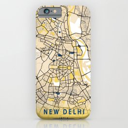 New Delhi Yellow City Map iPhone Case