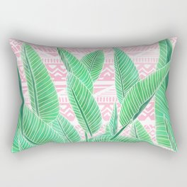 Summer green watercolor tropical leaf white pink aztec geometric pattern Rectangular Pillow