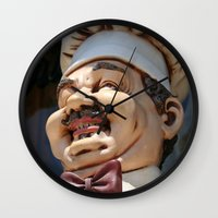 chef Wall Clocks featuring CHEF by Andrea Jean Clausen - andreajeanco