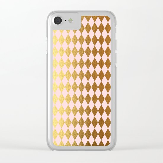 Royal gold on pink backround - Luxury geometrical pattern Clear iPhone Case