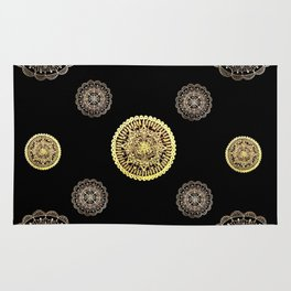 Gold and Rose Gold Mandalas on Black Background Textile Rug