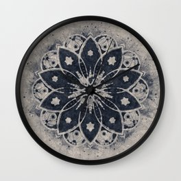 Mandala, Flower, Indigo Blue, Boho Art Wall Clock