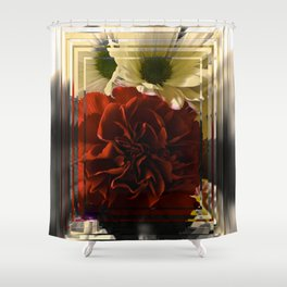 Carnation And Daisies In Glass Display Shower Curtain
