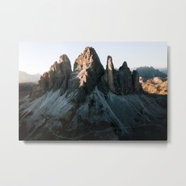 Tre Cime in the Dolomites Mountains at dusk - Landscape Photography Metal Print