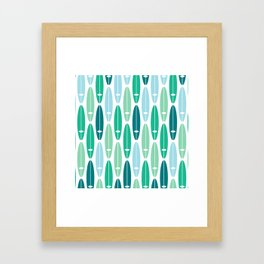 Vintage Surf Boards in Turquoise, Teal and Blue Framed Art Print