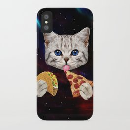 Space Cat with taco and pizza iPhone Case