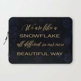 We are like a snowflake - gold glitter Typography on dark background Laptop Sleeve