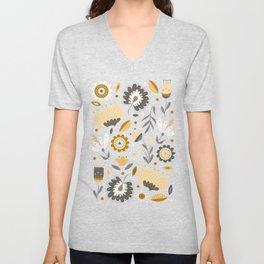 Floral Folk Art in Mustard Yellow Unisex V-Neck