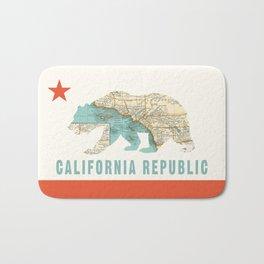 California Bear Flag with Vintage Map Bath Mat