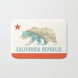 California Bear Flag with Vintage Map Bath Mat