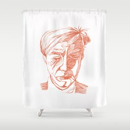 Andy portrait (Red) Shower Curtain