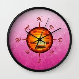 Sailboat And Compass Rose Pink Wall Clock