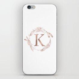 Letter K Rose Gold Pink Initial Monogram iPhone Skin