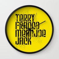 steelers Wall Clocks featuring Terry Franco Mean Joe Jack / Gold by Brian Walker