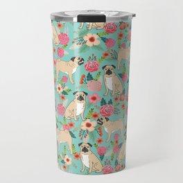 Pug floral dog breed must have gifts for pug lover pet pattern florals Travel Mug