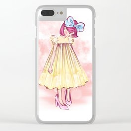 little girl with a bow and in yellow dress put on her mother's big shoes and looks at them Clear iPhone Case