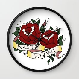 Nasty Woman and Roses Tattoo Flash Wall Clock