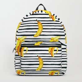 Hand painted yellow black watercolor bananas stripes pattern Backpack