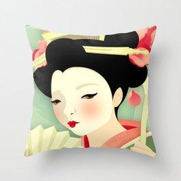 Geisha: Rose Throw Pillow
