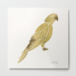 Perched Parrot – Gold Palette Metal Print