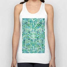White and green leaves Unisex Tank Top