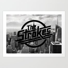 The Strokes Logo New York Black And White Art Print