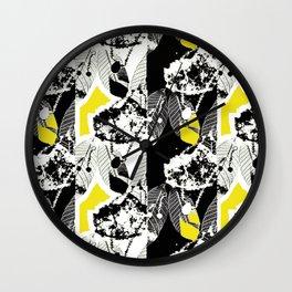 Black and White Leaf Stripe Wall Clock