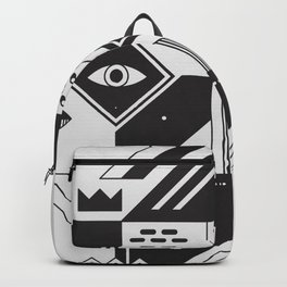 Vintage Abstract Art Monochromatic Black and White Geometric Shape Pattern  with an Eye Backpack f79ca6ca1e