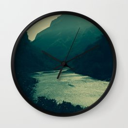 Beautiful View of the River Crossing the Mountains. Landscape Photography. Wall Clock