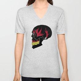 Black Skull Red Flames Fire Death Unisex V-Neck