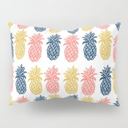Pineapple Pattern in Tropical coral, yellow, navy Pillow Sham