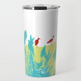 Pastel Symbiosis between Elephant and Bird Travel Mug